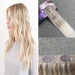 Moresoo Balayage Colored #18 Fading to #22 Mixed with #60 Blonde One Piece Clip in Human Hair Extensions 50 Grams Per Pack 16 Inch Clip on Double Weft 5 Clips Real Human Hair Extensions