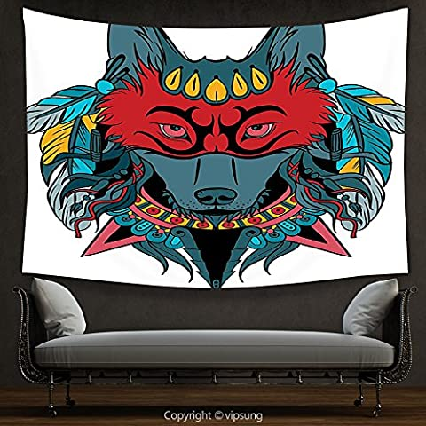 House Decor Tapestry Tribal Indian Warrior Wolf Portrait with Mask Feathers Native American Animal Art Teal White and Red Wall Hanging for Bedroom Living Room - Native American Art Masks