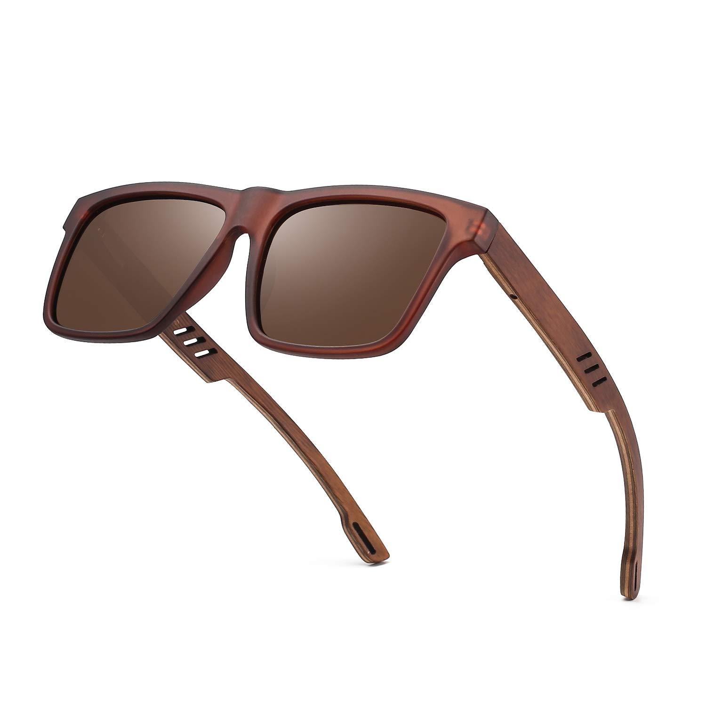 5312c5bb3e Divvsck Zebra Wooden Sunglasses with Polarized Lenses in Bamboo Tube  Packaging (Brown Frame Brown Lens)