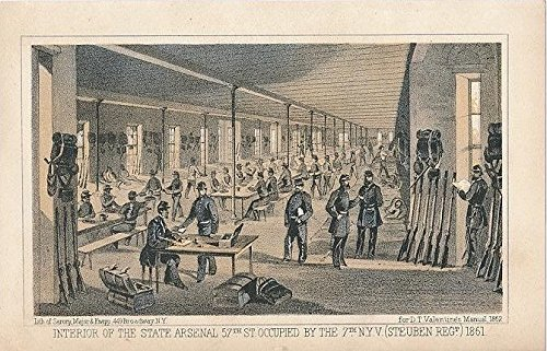 State Arsenal interior view 57th St. New York City 1862 color lithograph - York New 57th St