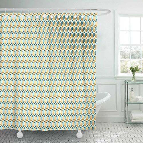 Emvency Fabric Shower Curtain with Hooks Arab Arabic Patterns Abstract Arabian Asian Collection Ethnic Geometric Graphic Modern 60''X72'' Decorative Bathroom Treated to Resist Deterioration by Mildew by Emvency