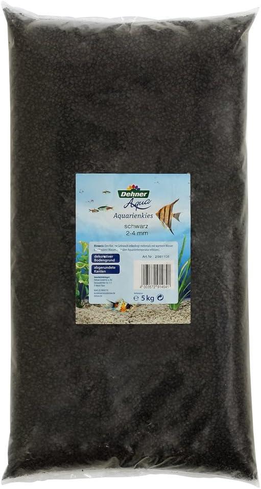 Dehner Aqua - Grava para Acuario, Grano 2-4 mm, 5 kg, Color Negro