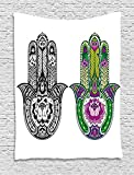 asddcdfdd Hamsa Tapestry, Hand Drawn Symbols with Flourishing Lotus Flowers Ancient Protection Power Icons, Wall Hanging for Bedroom Living Room Dorm, 60 W X 80 L Inches, Multicolor