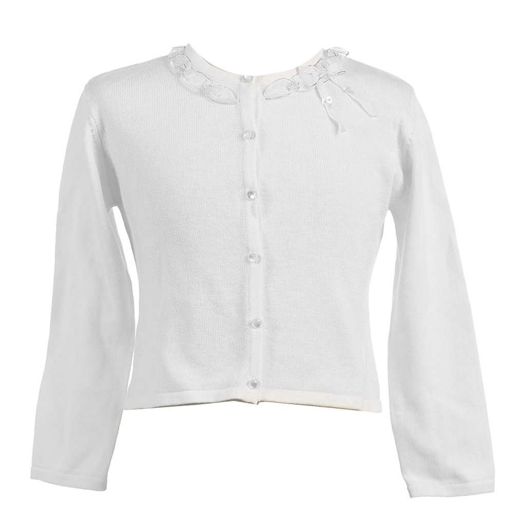 Calla Collection Big Girls White Ruffle Adorned Neckline Cardigan 8-12 Calla Collection USA