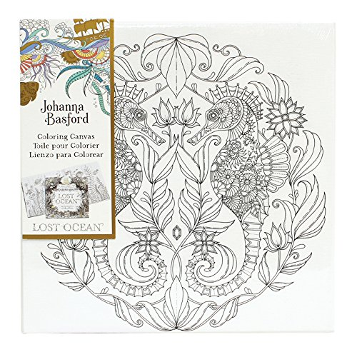 Johanna Basford Lost Ocean Seahorse 12 X Colour Your Own Canvas Amazoncouk Kitchen Home