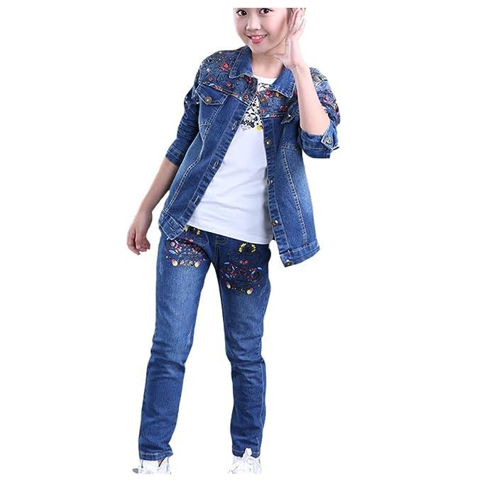 M&A 2pics Otoño Primavera Traje Conjunto Vaquero para Niñas Niños Chaqueta Vaquera+Pantalones Vaqueros Multidiseño 110-160cm