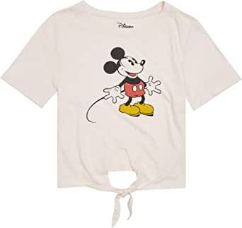 Disney Ladies Mickey Mouse Fashion Shirt - Ladies Classic Mikey Mouse Clothing Mickey Mouse Logo Tie Front Short Sleeve Tee