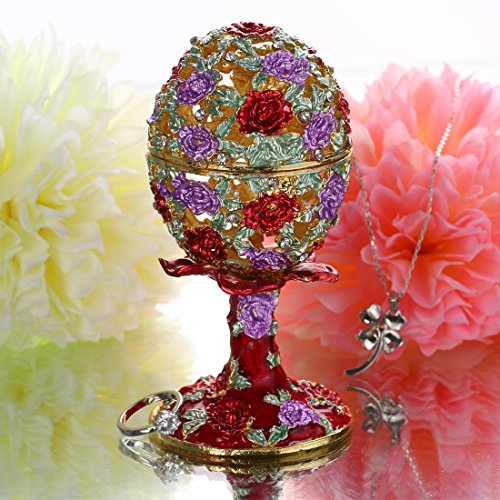 YUFENG Faberge Egg Holder Trinket Box Hinged Jewelry Ring Holder Collectible Figurine Boxes