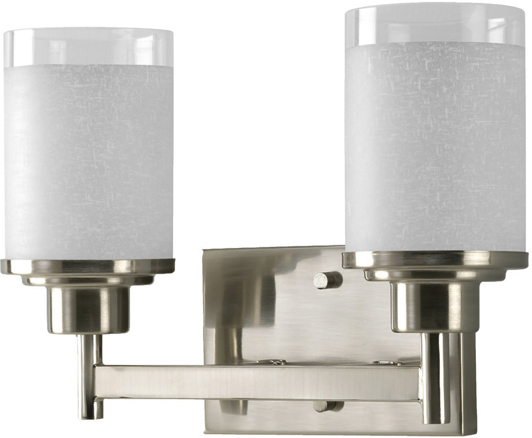 Luxury Contemporary Bathroom Vanity Light, Medium Size: 9.5''H x 13''W, with Transitional Style Elements, Brushed Nickel Finish, UHP2010 from The Cupertino Collection by Urban Ambiance