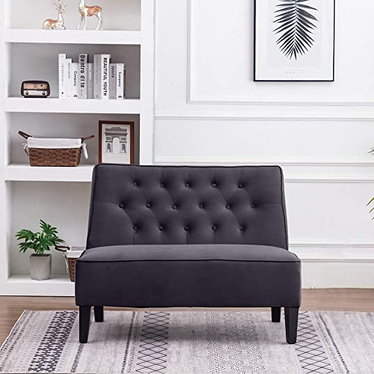ANNJOE Button Tufted Loveseat Settee Upholstered Sofa Backrest Buckle Couch Banquette Bench for Dining Room Living Room Bedroom Funiture Gray 1