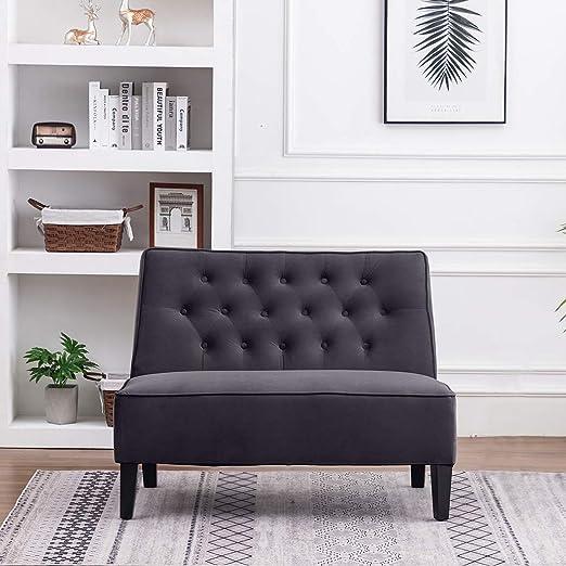 Amazon.com: Haobo - Sofá tapizado con botones y taburete de ...