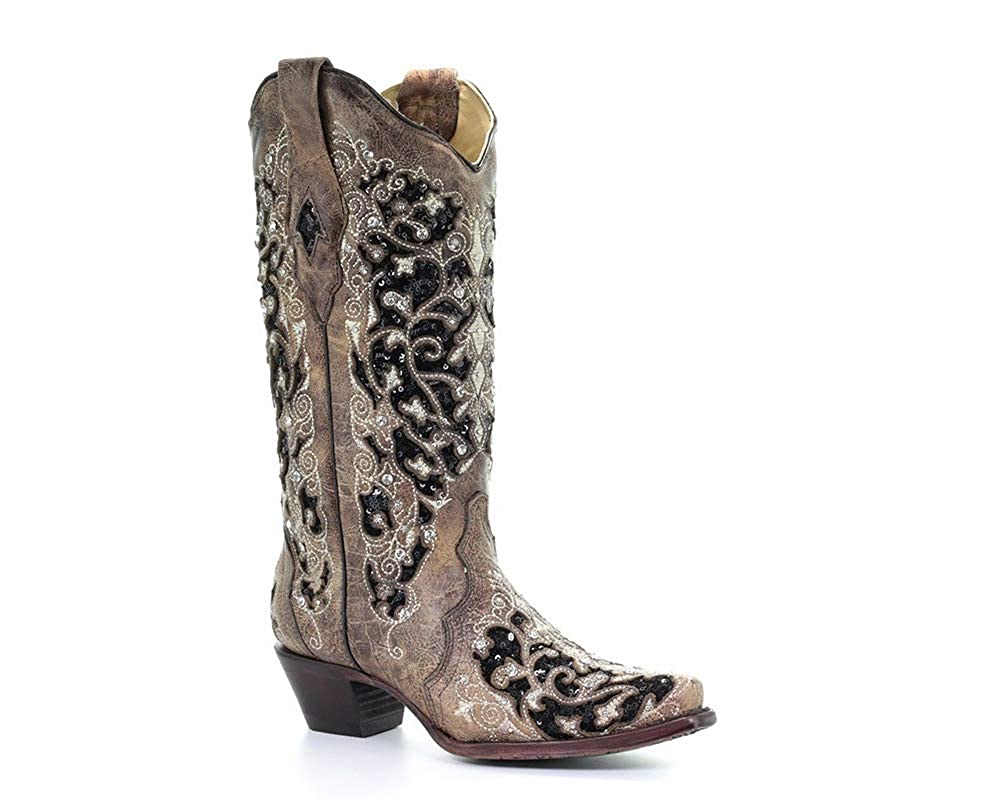 Image of CORRAL Womens Brown Inlay & Flowered Embroidery & Studs & Crystals, Size: 10.5, Width: M (A3569-LD-M-10.5)