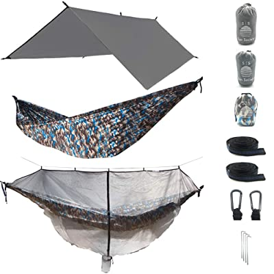 The Ultimate 3 in 1 Camo Camping Hammock RainFly Bundle with Fully Detachable Mosquito Net by Sun Society: Sports & Outdoors