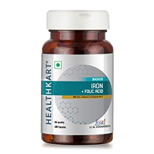 Healthkart Iron + Folic Acid with Zinc, Vitamin C & Vitamin B12, 60 Veg Capsules (60)