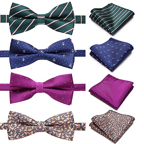 AUSKY 4 PACKS Elegant Adjustable Pre-tied Bow Ties & Pocket Square set for Men Boys (4PACKS C)