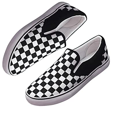 00fe74bc86b1 Amazon.com   Ouronehome Checkerboard Shoe, Checkerd Sneakers Canvas Flat  Lazy Rubber Slip-On Shoe   Shoes