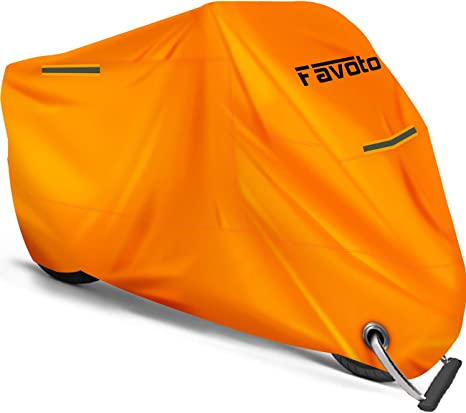 Safe Orange Color Favoto Motorcycle Cover Waterproof Outdoor Lock-hole Sun Protection Thicker Material Universal 3 Reflective Stripe Storage Bag Fit up to 104 inch Vehicle