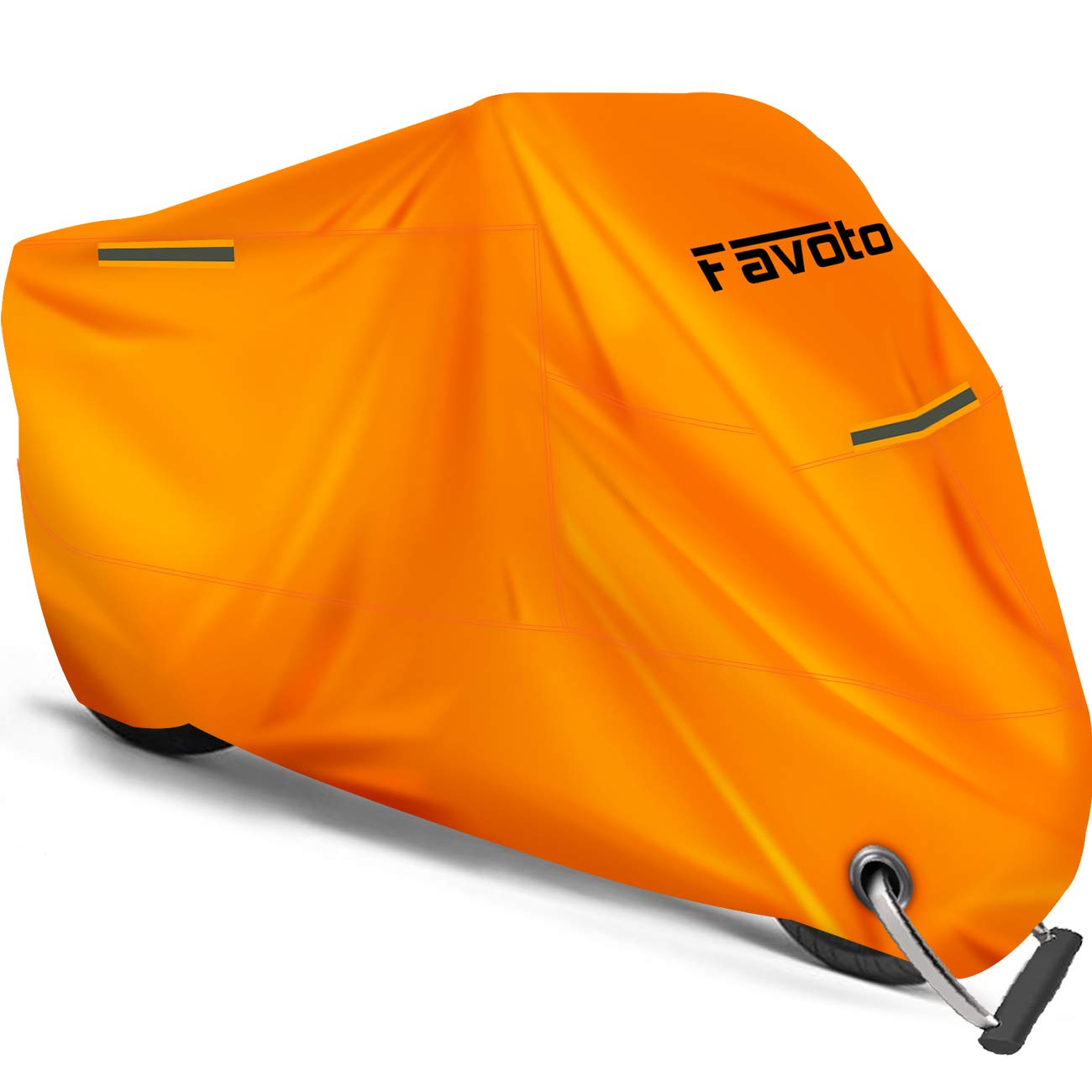 Favoto Motorcycle Cover [Upgraded Version] Waterproof Outdoor, Safe Orange Color, Thicker Material Universal, Sun Protection, 3 Night Reflective, Lock-hole, Storage Bag, Fit up to 104 inch Vehicle by Favoto