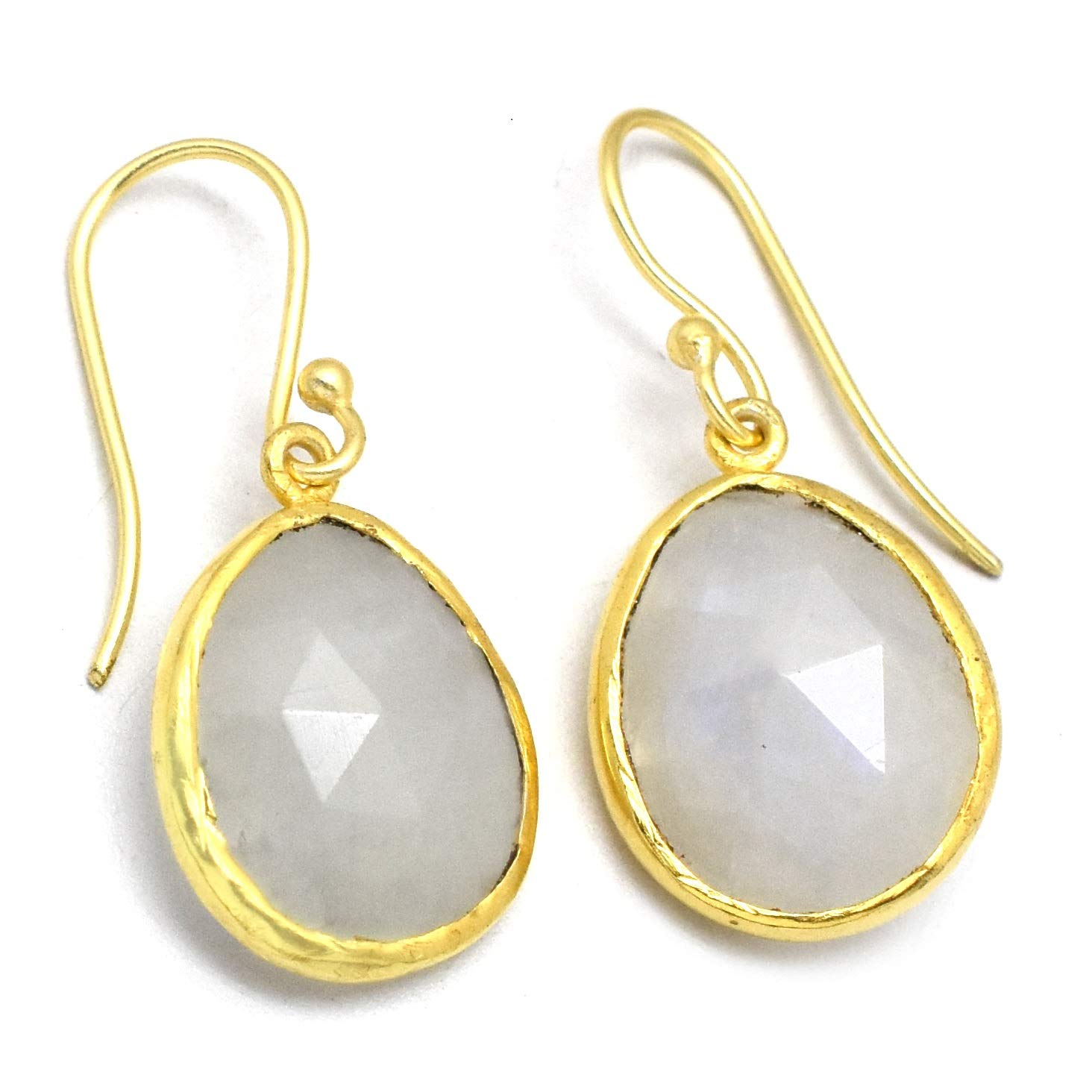The V Collection earrings yellow gold plated rainbow stone dangling earrings for women and girls