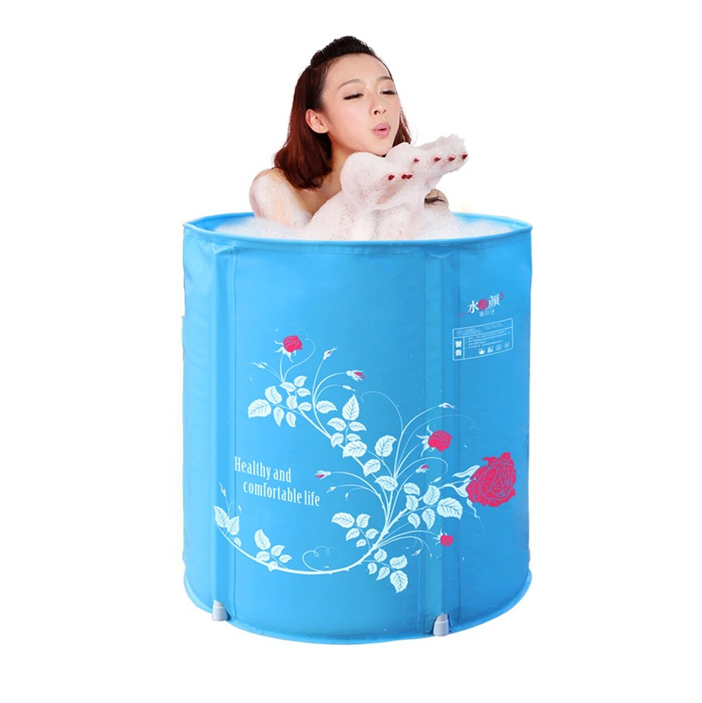 Free Inflatable Folding Plastic Bathtub Household Tub Adult Infant Child Bath Tub Durable Dirt/adjustable Height/easy To Fold Blue (5865cm, 6570cm) (Color : Capping, Size : 5865cm)