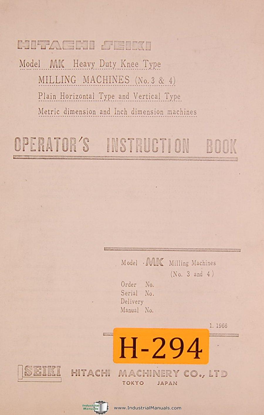 Hitachi Seiki Mk No 3 4 Milling Machines Operators Manual Contactor Wiring Diagram Books