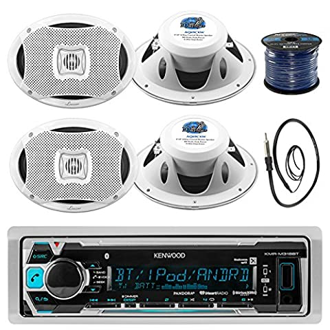 Kenwood KMR-M318BT In-Dash Marine Boat Audio Bluetooth USB Receiver Bundle Combo With 4x 500 Watts 6X9-Inch 2-Way Marine White Coaxial Speakers + Radio Antenna + 16g 50FT Marine Speaker (Earthquake Shallow Subwoofer)