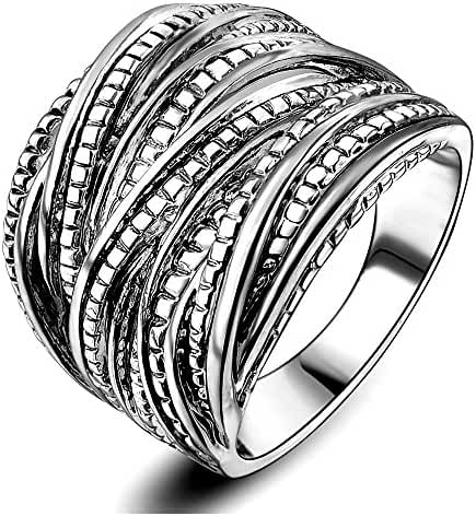 Mytys Rhodium Plating Retro Vintage Silver Interwined Design Fashion Rings
