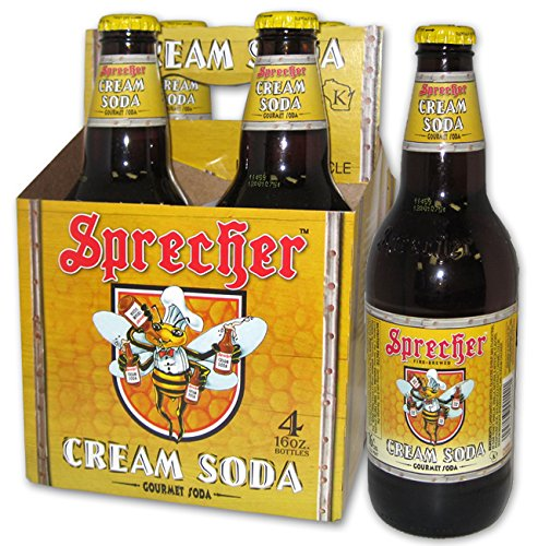 Sprecher Gourmet Cream Soda, 16 oz, 4 count, 64 Fl oz, (Pack of 6)