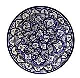 Moroccan Ceramic Plate Handmade Deep Serving Dinnerware 16 Inches Diameter White & Blue