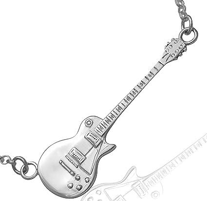 Guitar Necklace - Collar con colgante de guitarra (plata de ley ...