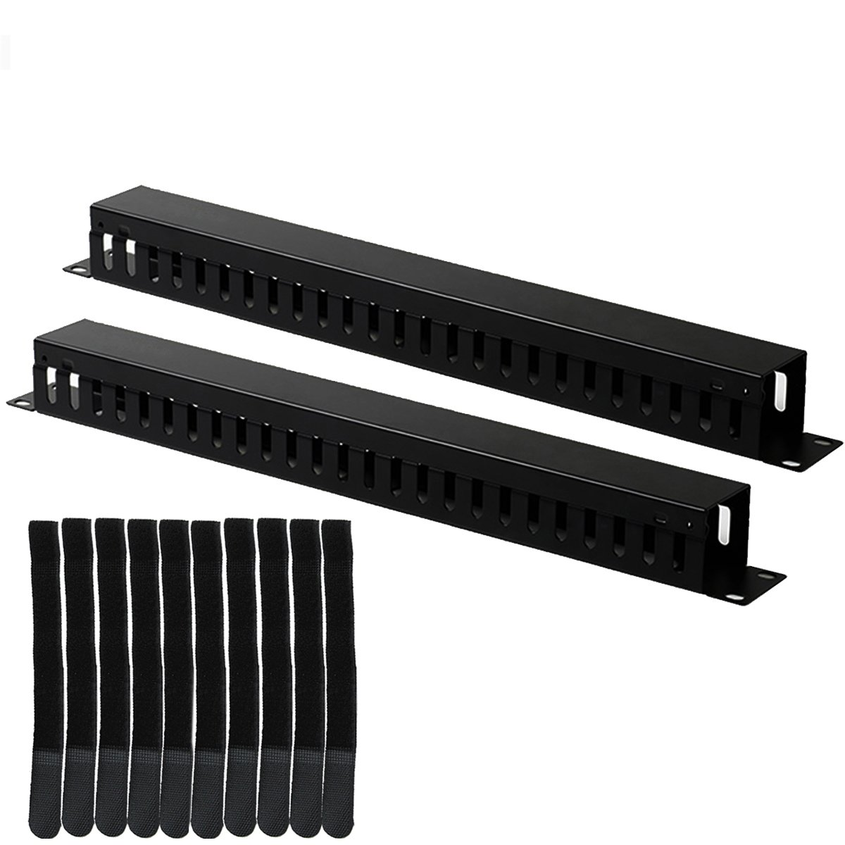 Lancher 2-Pack 19 Inch 1U Cable management Horizontal Cable Rack Mount manager with mounting screws for service rack cabinet 24 slot Finger Duct with Cover Lancher Co. LTD