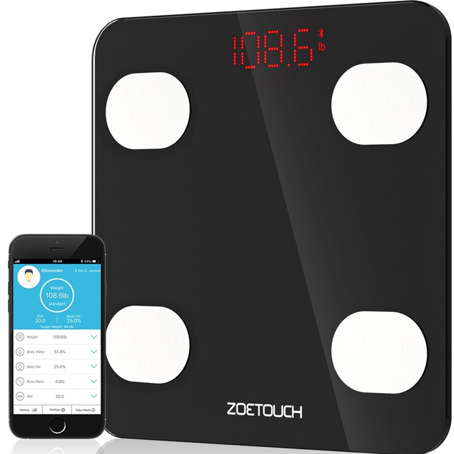 Bluetooth Body Fat Scale, ZOETOUCH Smart Digital Bathroom Weight Scale with iOS and Android APP Wireless Body Composition Analyzer Fitness Health Monitor Capacity Up to 180 kg /396 lbs, Black