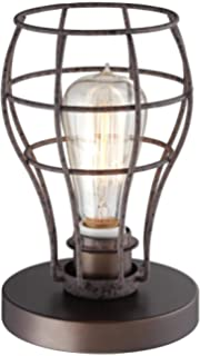 Franklin iron works industrial wire cage 17 14 accent lamp oldham industrial uplight 9 12h edison bulb table lamp greentooth Choice Image