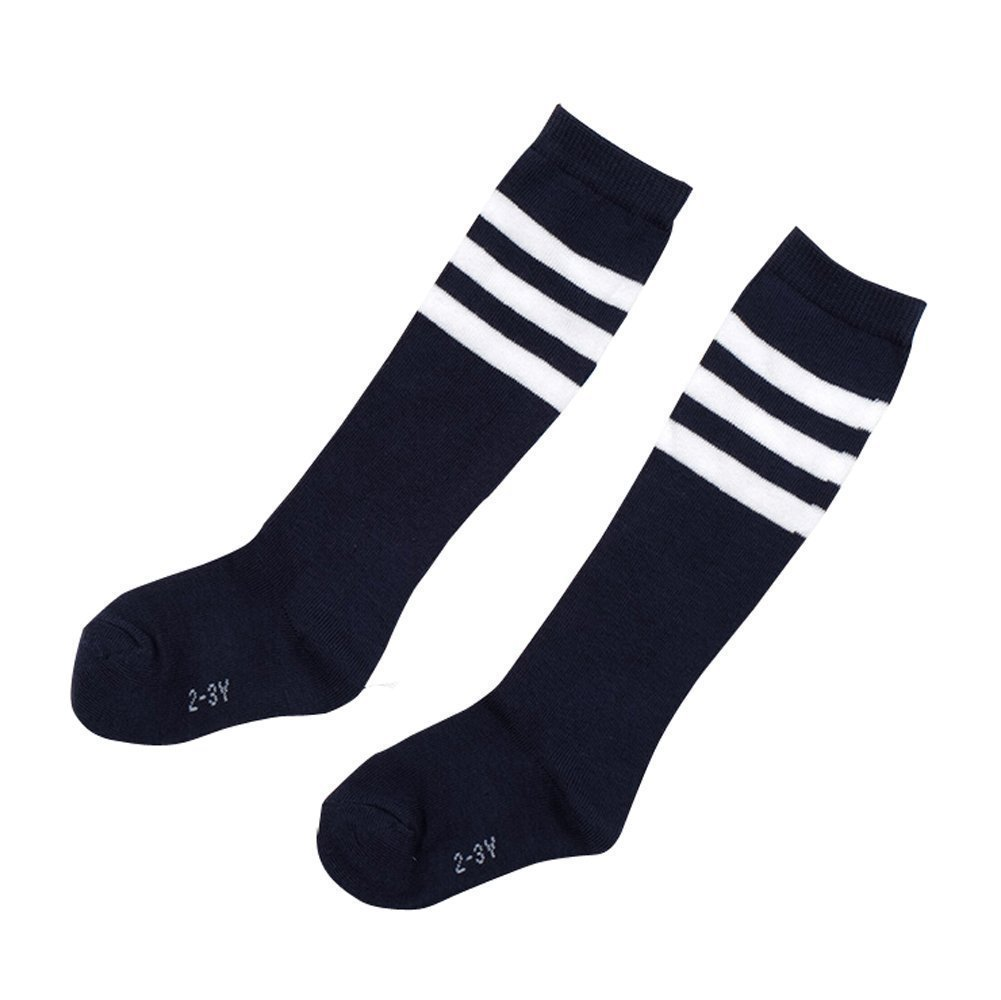TININNA 4 Pairs Stripe Thicken Knee High Socks Cotton Football Socks for Kids Children Girls Boys 2-3 Years Old