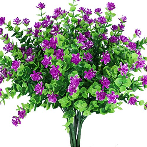 E-HAND Artificial Flowers Outdoor Pink Red UV Resistant Plants Plastic Fake Window Box Wholesale 4PCS