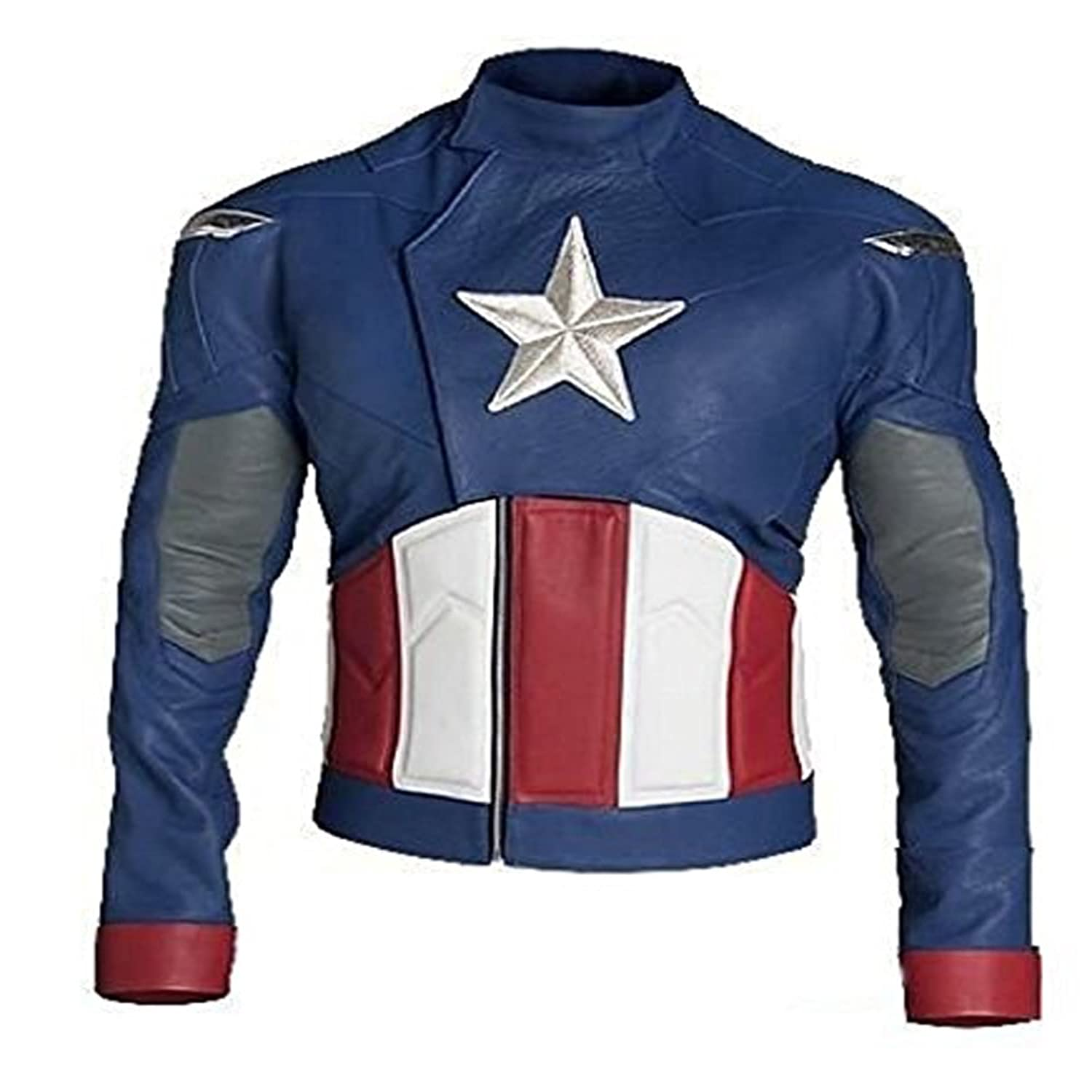Men's Captain America Avengers Faux Leather Biker Jacket - DeluxeAdultCostumes.com
