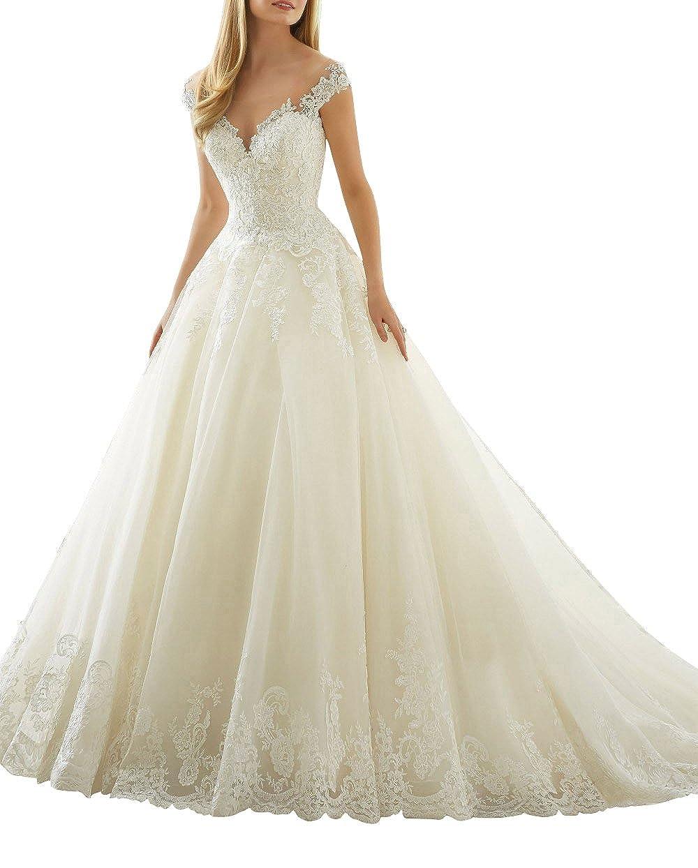 XUYUDITA Scoop cuello de hombro de encaje Vintage A-Line vestidos de novia de la boda: Amazon.es: Ropa y accesorios
