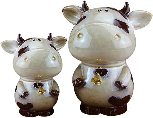 qucaojiu Cerámica Figuras de Vaca Hucha Adornos Artesanías de Mano Vintage Vaca Miniaturas Caja de Dinero Decoración para el hogar Accesorios Regalos de Porcelana: Amazon.es: Hogar