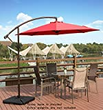 AMT Deluxe Adjustable Offset Cantilever Hanging 10′ Patio Umbrella with Cross Base and Crank, Dark Red