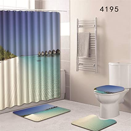 Oyeahbridal Set Of 4 Beach Ocean Sea Theme Shower Curtain And Bath Mat