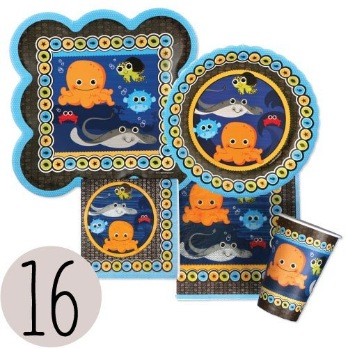 Under The Sea Critters - Party Tableware Plates, Cups, Napkins - Bundle for 16