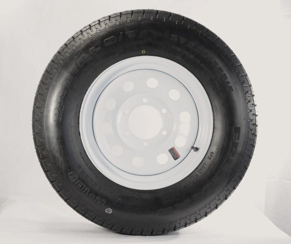 Ecustomrim Trailer Tire & Rim ST225/75D15 15'' Load D 6 Lug White Modular 58900