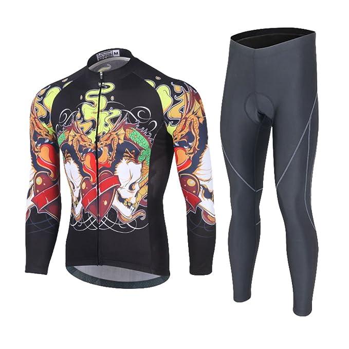 Baymate Hombres Conjunto de Ropa Ciclismo Maillots de Bicicleta de Mangas Largas Invierno Bicicleta Chaqueta Jersey y Pantalones Largos con Gel