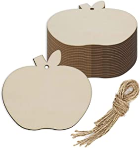 Apple Wood DIY Craft Cutout Wooden Apple Shaped Hanging Ornaments with Hole Hemp Ropes Gift Tags for Wedding Birthday Christmas Party Decoration (3.94x3.54 in, 20-Pack)