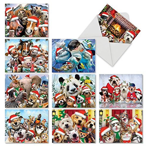 M6652XSG Merry Christmas To Zoo: 10 Assorted Christmas Note Cards Featuring Animals From Around the World Posing for an Adorable Selfie, w/White Envelopes.
