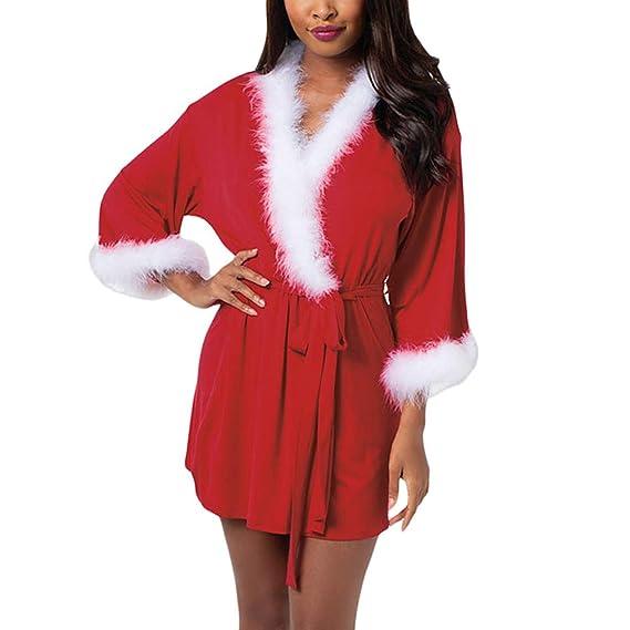 Traje de Papá Noel para Mujer Abrigo de Navidad Vestido con Cuello ...