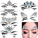 temporary body gems - 6 Sets Mermaid Face Gems Festival Jewels Crystals Bindi Rainbow Tears Rhinestone Tattoo Face Rocks by PIAOPIAONIU