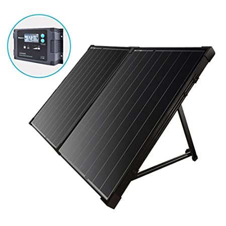 side facing renogy 100 watt 12 volt foldable portable solar panels