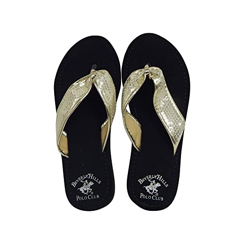 online store 5a721 e3ace Beverly Hills Polo Club Fara Women s Sequin Flip Flop Sandal Thong (6 US,  Gold
