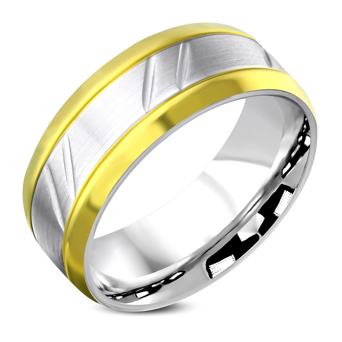 Stainless Steel Matte Finished 2 Color Comfort Fit Flat Band Ring